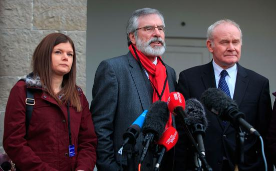 Members of the Sinn Fein delegation Kathleen Funchion TD, President of Sinn Fein Gerry Adams TD , Deputy First Minister of Northern Ireland Martin McGuinness during the All-Island Civic Dialogue on Brexit at Royal Hospital Kilmainham, Dublin. Photo: Gareth Chaney Collins