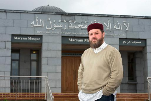 Iman Ibrahim Noonan at the mosque in Galway. Photo: Andrew Downes