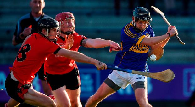 Ger Scales of St Rynagh's finds himself closed down by Kevin Sheridan and Anthony Roche of Oulart-The Ballagh in Wexford Park. Photo: Matt Browne/Sportsfile