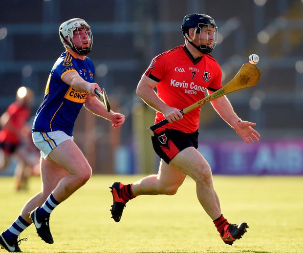 Michael Jacob of Oulart-The Ballagh in action against Sean Quinn of St Rynagh's. Photo: Matt Browne/Sportsfile