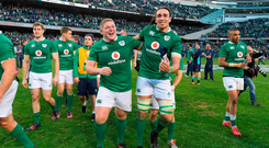 Ireland players Tadhg Furlong and Ultan Dillane celebrate victory