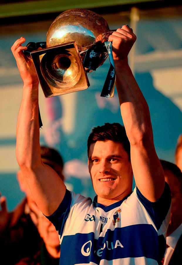 St Vincent's captain Diarmuid Connolly lifts the Clery Cup. Photo: Seb Daly/Sportsfile