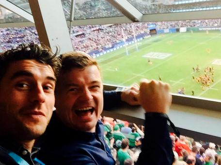 Bernard Brogan and Brian O'Driscoll celebrate Ireland's win at Soldier Field against the All Blacks