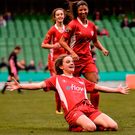 6 November 2016; Leanne Kiernan of Shelbourne Ladies celebrates after scoring her side's fifth goal during the Continental Tyres FAI Women's Senior Cup Final game between Shelbourne Ladies and Wexford Youths at Aviva Stadium in Lansdowne Road, Dublin. Photo by David Maher/Sportsfile