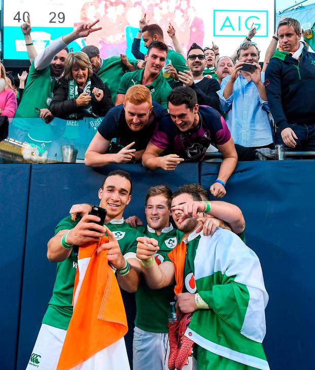 Ultan Dillane, Kieran Marmion and Henshaw celebrate victory with fans. Photo by Brendan Moran/Sportsfile