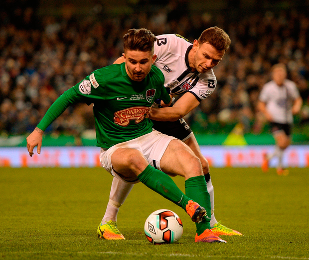 Seán Maguire and Andy Boyle battle for possession. Photo: Eóin Noonan/Sportsfile