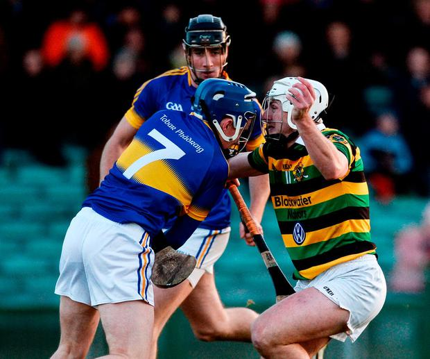 Glen Rovers' Patrick Horgan in action against Nigel Foley of Patrickswell. Photo: Diarmuid Greene/Sportsfile
