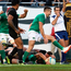 Conor Murray leads the celebrations as Robbie Henshaw touches down for Ireland's fifth try late in the game. Photo: Getty