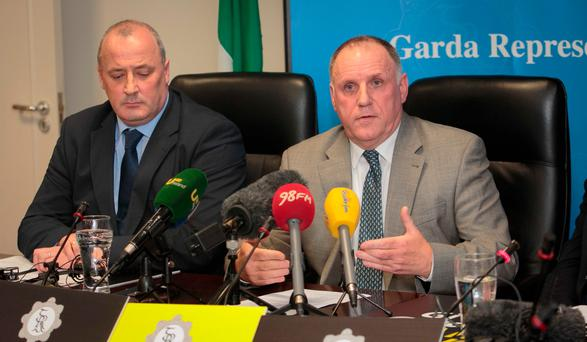 (L to R) Members of the Garda Representative Association (GRA) Ciaran O'Neill and President Pat Ennis General Secretary during a press conference by the GRA at GRA Headquarters, Phibsboro Dublin. Photo: Gareth Chaney Collins