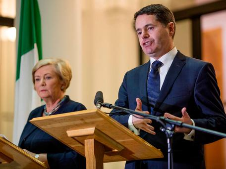 Mr Donohoe and his colleagues have now found themselves in a stand-off with public-sector unions that could have catastrophic consequences for the administration. Photo: Arthur Carron
