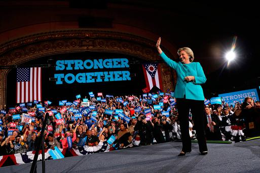 Hillary Clinton greets supporters during a campaign rally in Cleveland, Ohio on Sunday Photo: Justin Sullivan/Getty Images