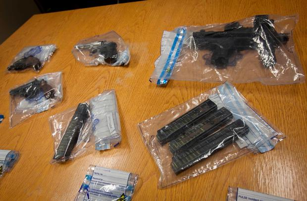 Firearms seized by Gardai following a planned operation in the Cabra area at the offices of The Garda Drugs and Organised Crime Bureau in Dublin Castle. Photo: Gareth Chaney Collins
