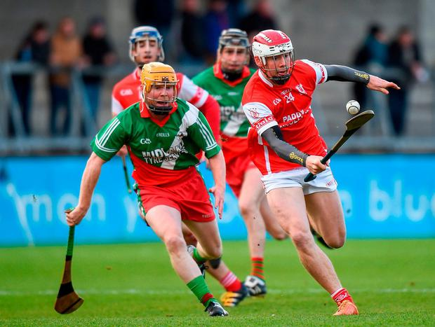 Cuala's Con O'Callaghan in action against Brian Stapleton of Borris-Kilcotton. Photo: Cody Glenn/Sportsfile