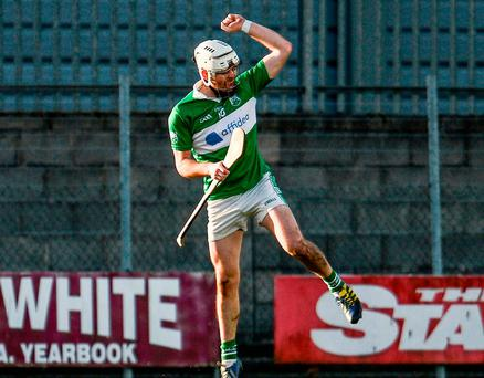 St Mullins' Marty Kavanagh celebrates after scoring a late goal. Photo: Sam Barnes/Sportsfile