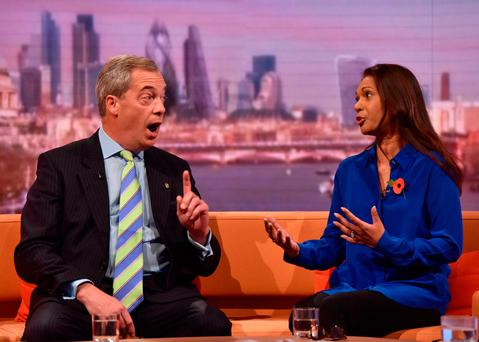 Nigel Farage and Gina Miller appear on The Andrew Marr Show. Photo by Jeff Overs/BBC via Getty Images