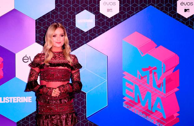 Laura Whitmore attending the European MTV Europe Music Awards, held at the Ahoy Rotterdam, Netherlands.
