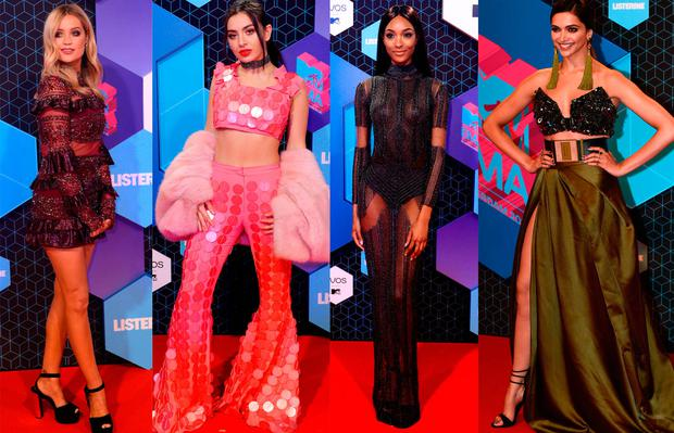 (L to R) Laura Whitmore, Charli XCX, Jourdan Dunn and Deepika Padukone at the MTV EMAs 2016