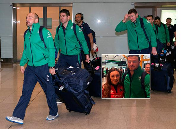 The Irish team arrive home and (inset) Rebecca Compton with Robbie Henshaw