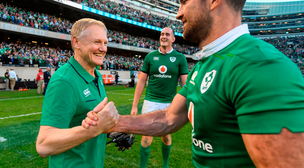 Ireland head coach Joe Schmidt, left, and Rob Kearney celebrate victory