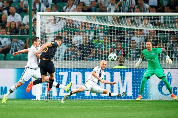 Robbie Benson's first-time effort away to Legia Warsaw was stunning and grabs extra points because he produced it in a Champions League play-off. (Photo by Adam Nurkiewicz/Getty Images)