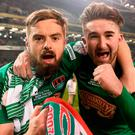 Cork City players Greg Bolger (L) and Sean Maguire celebrate at the end of the Irish Daily Mail FAI Cup Final. Photo by David Maher/Sportsfile