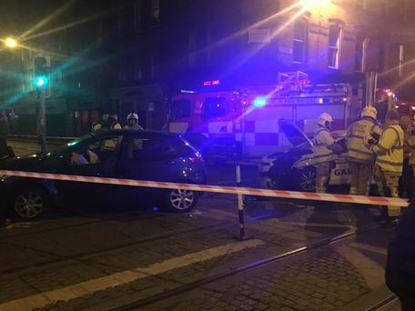 Collision between a car and a Garda vehicle on the junction of Queen Street and Benburb Street