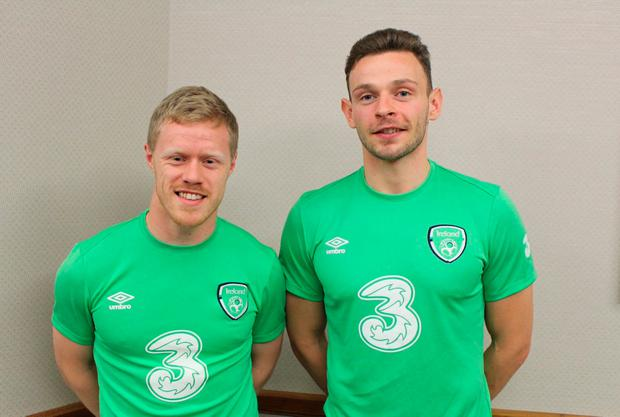 Daryl Horgan and Andy Boyle show their colours after being included in Ireland's squad for Saturday's match against Austria