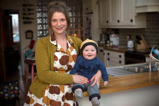 Blathnaid Cox at home with her son Darragh Photo: Mark Condren