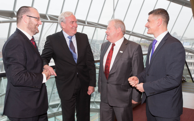 T.J. Flanagan, CEO of ICOS, Canadian Ambassador Kevin Vickers, Martin Keane, President of Irish Co-operative Organisation Society (ICOS), and Ian Drennan, Director of Corporate Enforcement