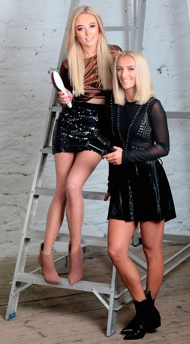 Nicola Hughes and Made in Chelsea's Tiffany Watson at a shoot in Dublin today to promote the new InStyler Straight Up Straightening Brush. Picture: Brian McEvoy