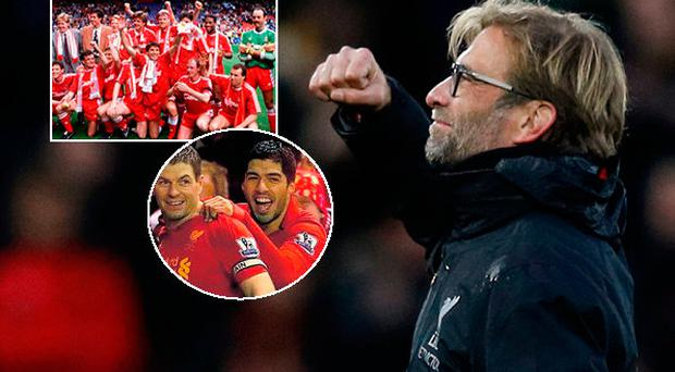 Jurgen Klopp and inset (Liverpool title team of 1990) and (below) Gerrard and Suarez in 2014