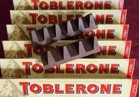 US food manufacturer Mondelez says they have spaced out the triangles in Toblerone bars because of the rising cost of ingredients, not because of Brexit Picture: Reuters