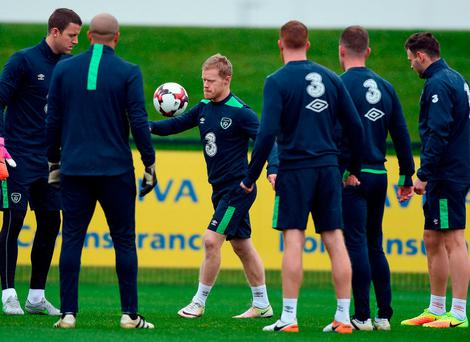 Daryl Horgan, left centre, during Republic of Ireland squad training. Photo by David Maher/Sportsfile
