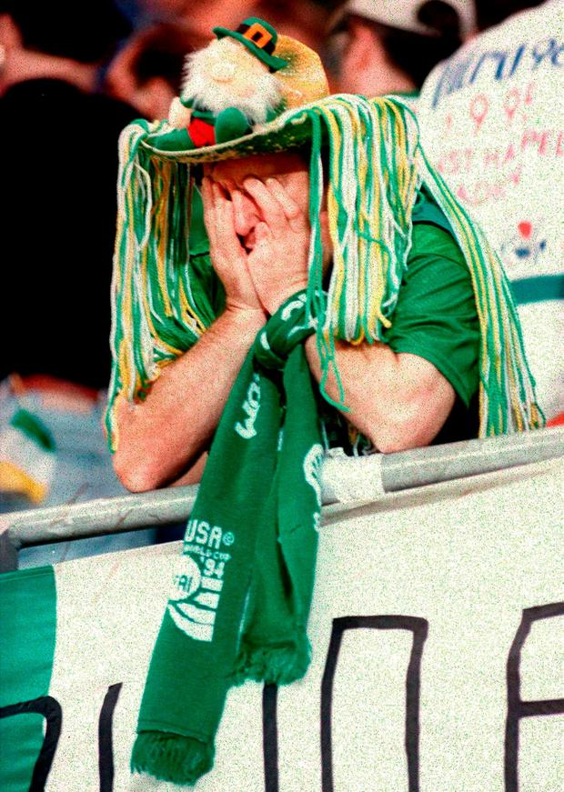 A dissapointed Irish fan pictured after Republic of Ireland's defeat to Austria in 1995. Picture credit: David Maher / SPORTSFILE