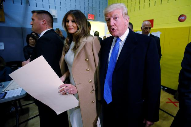 Donald Trump and wife Melania after voting in New York Picture: REUTERS/Carlo Allegri