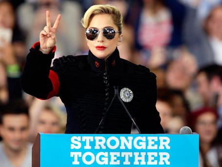 Lady Gaga addresses supporters gathered in support of Democratic presidential candidate Hillary Clinton in Raleigh, N.C., Tuesday, Nov. 8, 2016. (AP Photo/Gerry Broome)