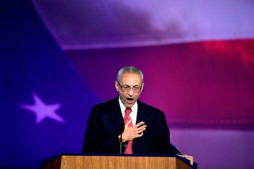 Campaign chairman John Podesta speaks on stage at Democratic presidential nominee former Secretary of State Hillary Clinton's election night event at the Jacob K. Javits Convention Center November 9, 2016 in New York City. Clinton is running against Republican nominee, Donald J. Trump to be the 45th President of the United States. (Photo by Drew Angerer/Getty Images)
