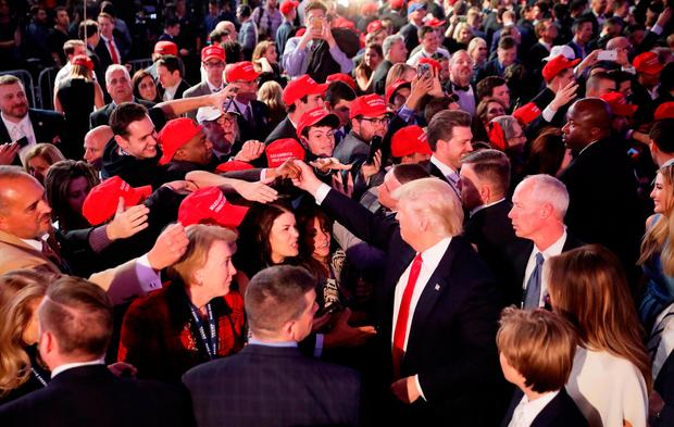 NEW YORK, NY - NOVEMBER 09: Republican president-elect Donald Trump gives greets people in the crowd after delivering his acceptance speech at the New York Hilton Midtown in the early morning hours of November 9, 2016 in New York City. Donald Trump defeated Democratic presidential nominee Hillary Clinton to become the 45th president of the United States. (Photo by Chip Somodevilla/Getty Images)