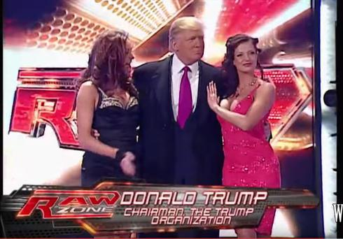 Donald Trump during his WWE appearance: Pic via Youtube