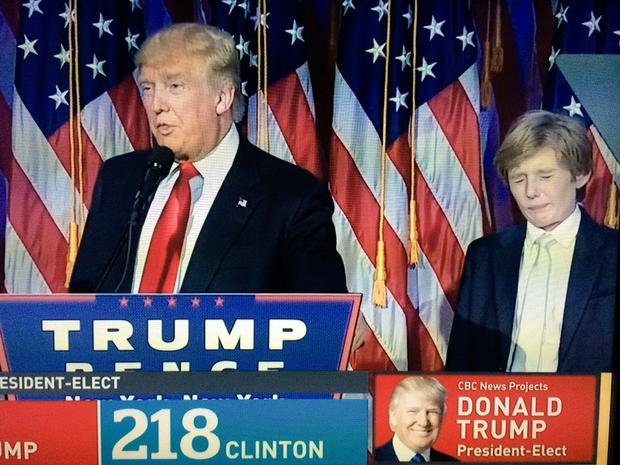 Barron Trump struggles to stay awake during Donald Trump's acceptance speech