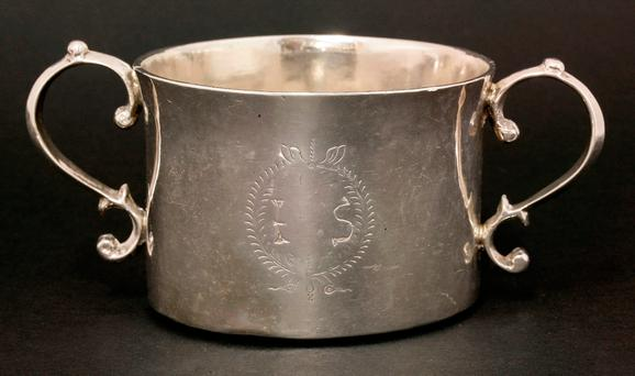 Rare shallow bowl made of Irish silver, which will be auctioned in England later this month Credit: Sworders/PA Wire
