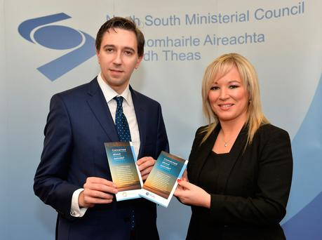 Health Minister Simon Harris and MLA Michelle O'Neill launch a new North-South 'Concerned about Suicide' leaflet at a joint ministerial meeting in Armagh yesterday. Photo by Aaron McCracken/Harrisons