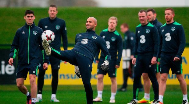 Darren Randolph in action during training ahead of Saturday's clash against Austria. Photo: Brian Lawless/PA Wire.