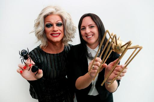 MC Panti Bliss and Lisa Kelly, head of marketing at eir Business, announcing the companies and community organisations that have made it on to the eir Spider Awards shortlist