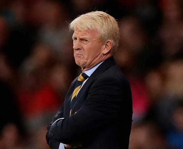 Gordon Strachan watches his team draw with Lithuania last month. Photo: Ian MacNicol/Getty Images