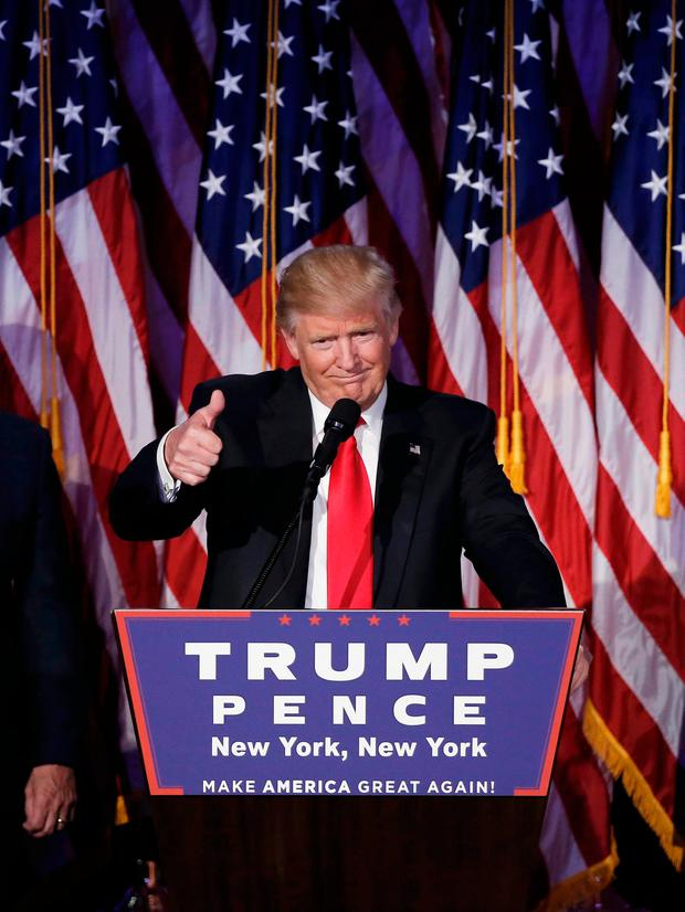 US President-elect Donald Trump addresses supporters during his election night rally in Manhattan, New York. Photo: Reuters/Mike Segar