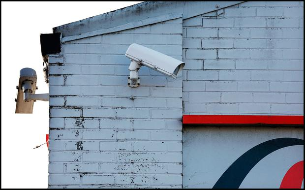 CCTV at the First Stop Premises on Greencastle Parade in Newtown Indutrial Estate in Coolock where the armed robbery took place. Pic Steve Humphreys