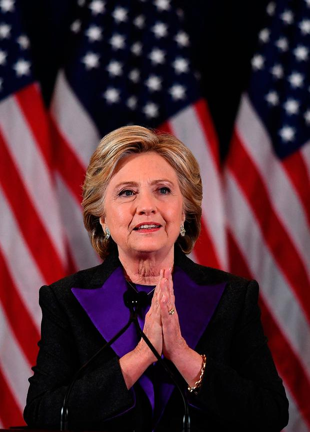 US Democratic presidential candidate Hillary Clinton makes a concession speech after being defeated by Republican presidential-elect Donald Trump, in New York