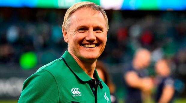 Ireland head coach Joe Schmidt celebrates victory after the International rugby match between Ireland and New Zealand at Soldier Field in Chicago last weekend