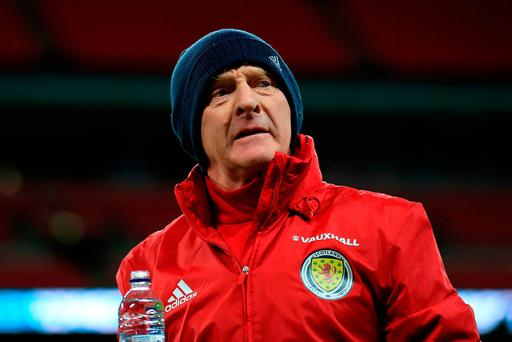 Scotland manager Gordon Strachan during a training session at Wembley today